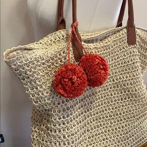 Merona | Large Wicker Pom Pom Beach Tote Bag